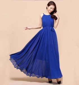 Новое длинное синее платье шифон