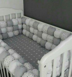 Бортики в кроватку бум бон