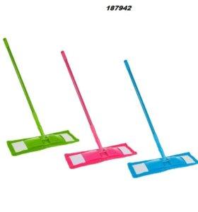 швабра плоская, телескопическая ручка 80-130 см