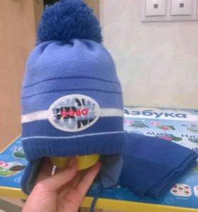 Комплект для мальчика шапка+шарф