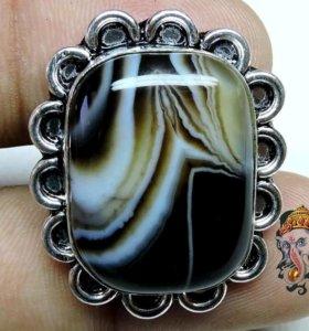 Женское кольцо Натуральный Агат Оникс Серебро