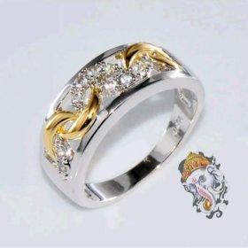 Женское кольцо Серебро Золото 18к