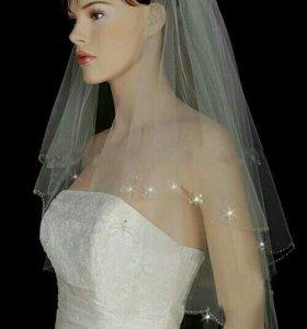 Свадебная фата со стразами