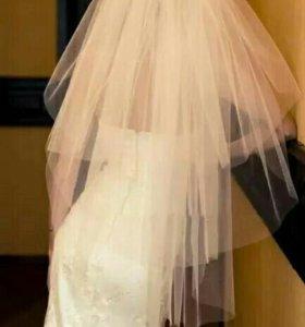 Свадебная фата трехслойная