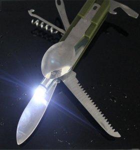 Нож туриста с ложкой и вилкой