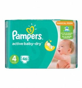 подгузники Pampers Active Baby Dry 4 (7-14кг) 45шт