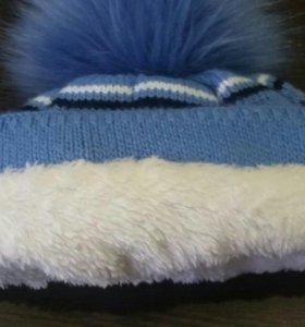 Детская зимняя шапка+варежки.