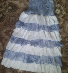 Бело-синее платье/сарафан/юбка