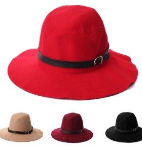 Шляпа фетровая с ремешком женская черная