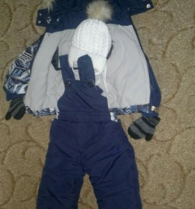 Зимний костюм + шапка р. 74-80