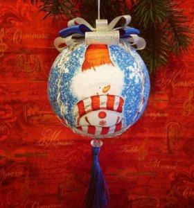 Ёлочный шар, интерьерное украшение. Подарок.