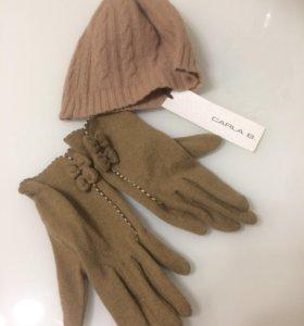 Комплект шапка+перчатки, шерсть. Новые!