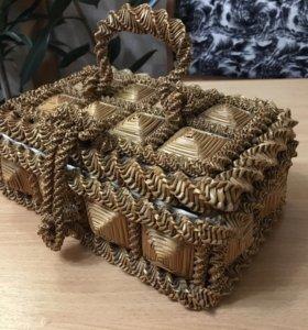 Соломенная шкатулка середины XX века handmade