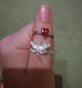 Кольцо стрекоза и сердце