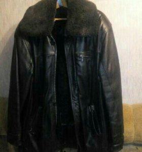 Кожаная мужская куртка, зимняя