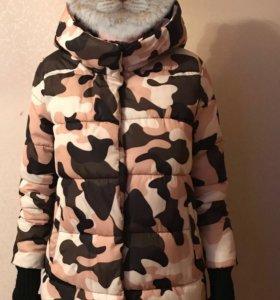 Зимняя куртка цвета хаки 46 размер
