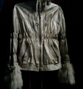 Куртка кожаная с мехом песца и норки