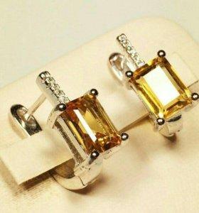 Серебряные украшения с натуральным цитрином