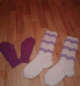 Вязанные носки перчатки