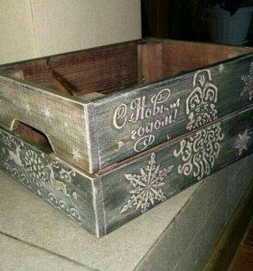 Новогодние ящики в стиле декупаж, игрушки на елку