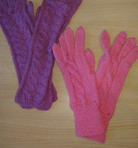 Вязаные перчатки и шарф