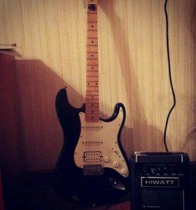 Fender Stratocaster (USA) и комбик Hiwatt