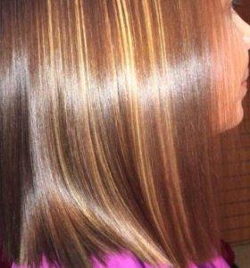 кератиновое выпрямление,полировка,ботокс для волос