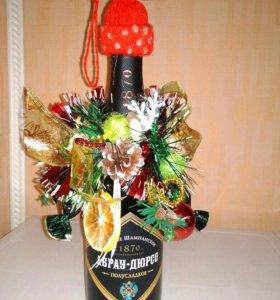 Украшение на шампанское для новогоднего стола