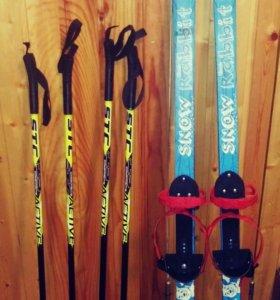 Детские лыжи+две пары палок на разный рост