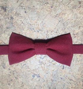 Бабочка-галстук мужская бордового цвета