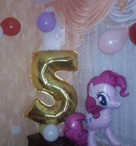 Цифра 5 и пони на день рождение для девочки