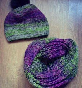 Зимний комплект вязаный шапка и шарф НОВЫЙ