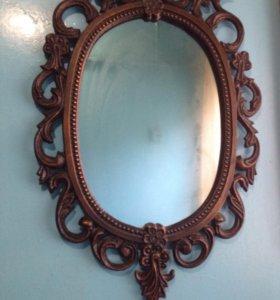 Зеркало в метал оправе