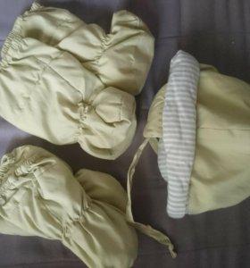 Детский комбензон с шапкой и варежками