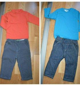 Новые джинсы на подкладе и водолазка р.80