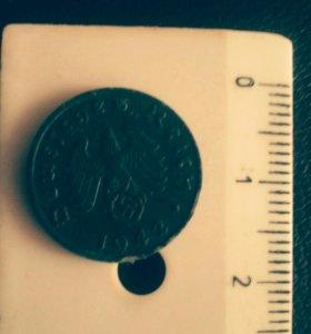 Монета 1 райхспфеннинг 1942 года (Австрия)