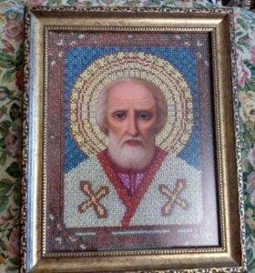 Икона вышитая бисером Николай Чудотворец.