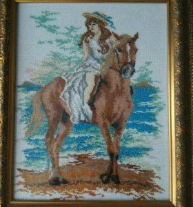 """Картина из бисера""""Девушка на коне"""")"""