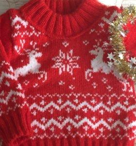 Детский свитер с оленями на годик