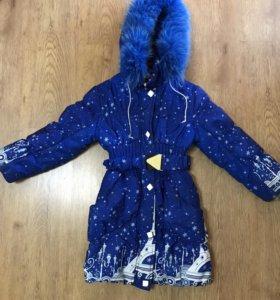 Куртка зимняя удлиненная с подстежкой на 5-7 лет
