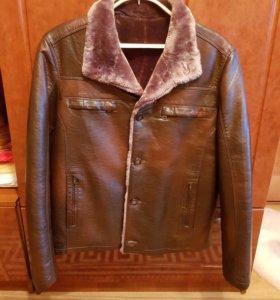 Кожаная куртка,зимняя