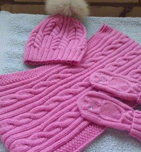 Теплый комплект-шапка,снуд и варежки