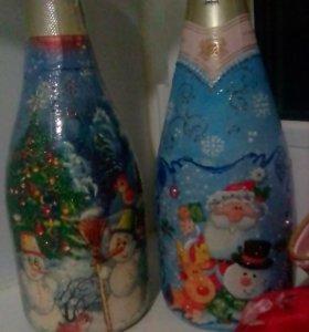 Оформление праздников. Новогодняя бутылочка))))