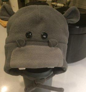 Зимняя флисовая шапочка бегемотик