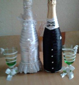 оформление бутылок с шампанским