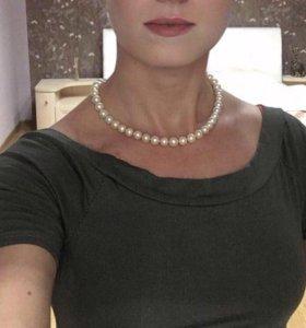 Ожерелье из жемчуга с золотом. 40 см