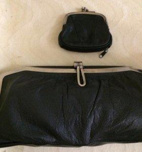Кожаный клатч с кошельком
