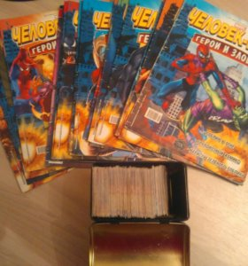 Коллекция комиксов и карточек человек паук