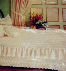 Комплект для спальни розов(покрывало +3 наволочки)