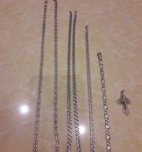 Серебро. цепочки, браслеты, крест